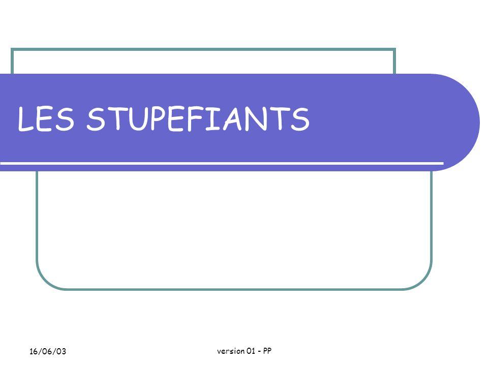 16/06/03version 01 - PP LES STUPEFIANTS Réglementé par décret du 31 mars 1999 relatif aux substances vénéneuses et à l organisation de la pharmacovigilance.
