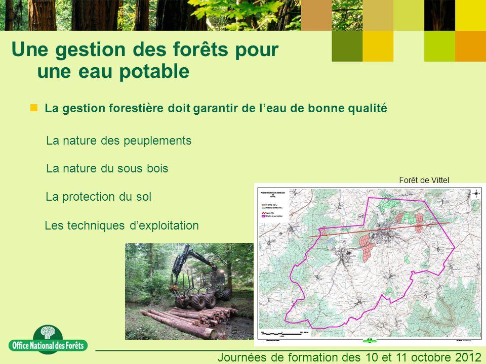 Journées de formation des 10 et 11 octobre 2012 Une gestion des forêts pour une eau potable Les techniques dexploitation La gestion forestière doit ga