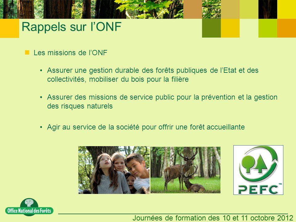 Journées de formation des 10 et 11 octobre 2012 Les missions de lONF Assurer une gestion durable des forêts publiques de lEtat et des collectivités, m