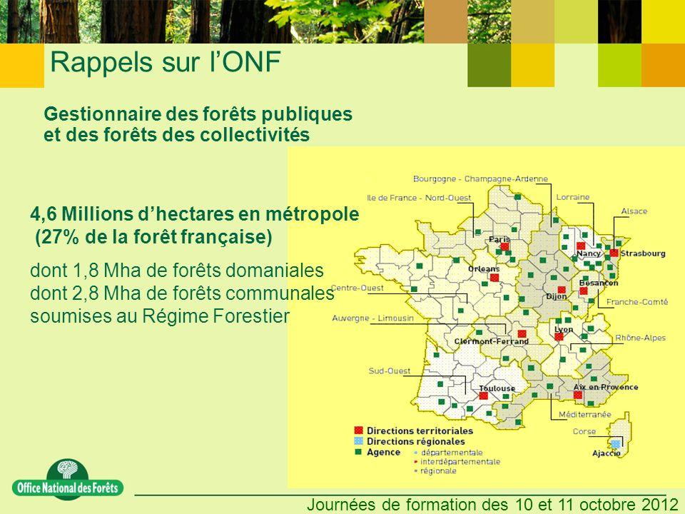 Journées de formation des 10 et 11 octobre 2012 Gestionnaire des forêts publiques et des forêts des collectivités 4,6 Millions dhectares en métropole