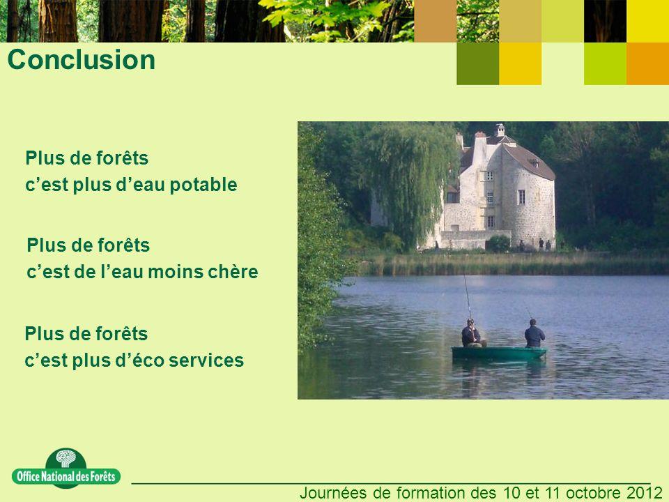 Journées de formation des 10 et 11 octobre 2012 Conclusion Plus de forêts cest plus deau potable Plus de forêts cest de leau moins chère Plus de forêts cest plus déco services