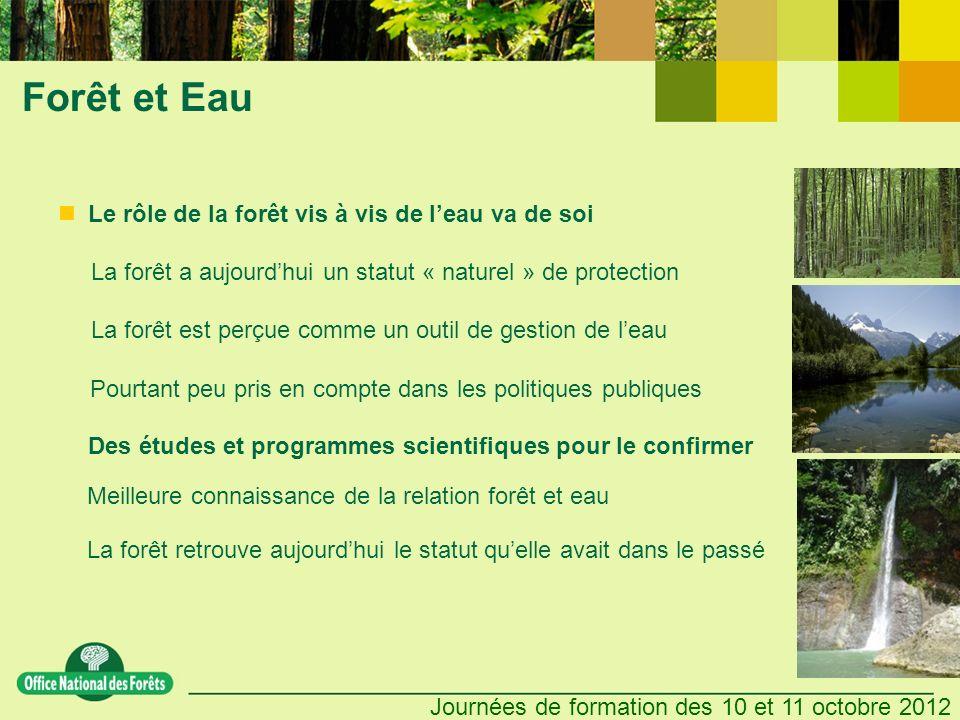 Journées de formation des 10 et 11 octobre 2012 Forêt et Eau Des études et programmes scientifiques pour le confirmer La forêt retrouve aujourdhui le