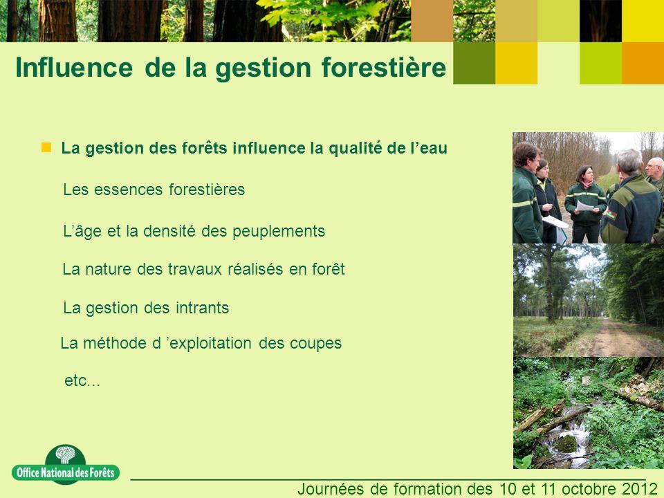 Journées de formation des 10 et 11 octobre 2012 Influence de la gestion forestière La gestion des intrants etc... La gestion des forêts influence la q