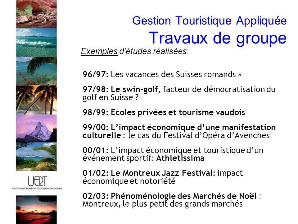 Gestion Touristique Appliquée Travaux de groupe 96/97: Les vacances des Suisses romands » 97/98: Le swin-golf, facteur de démocratisation du golf en Suisse .