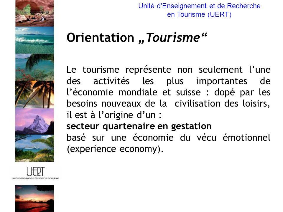 Orientation Tourisme Le tourisme représente non seulement lune des activités les plus importantes de léconomie mondiale et suisse : dopé par les besoins nouveaux de la civilisation des loisirs, il est à lorigine dun : secteur quartenaire en gestation basé sur une économie du vécu émotionnel (experience economy).