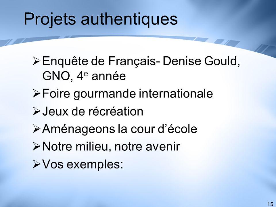 15 Projets authentiques Enquête de Français- Denise Gould, GNO, 4 e année Foire gourmande internationale Jeux de récréation Aménageons la cour décole