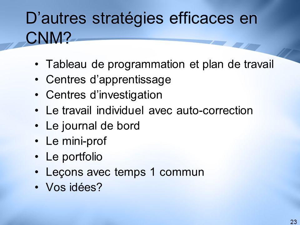 23 Dautres stratégies efficaces en CNM? Tableau de programmation et plan de travail Centres dapprentissage Centres dinvestigation Le travail individue