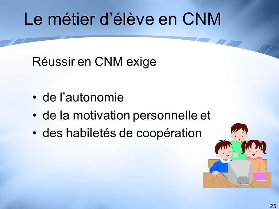 25 Le métier délève en CNM Réussir en CNM exige de lautonomie de la motivation personnelle et des habiletés de coopération