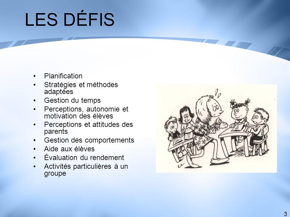 3 LES DÉFIS Planification Stratégies et méthodes adaptées Gestion du temps Perceptions, autonomie et motivation des élèves Perceptions et attitudes de
