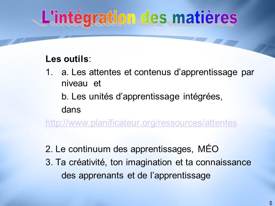 5 Les outils: 1.a. Les attentes et contenus dapprentissage par niveau et b. Les unités dapprentissage intégrées, dans http://www.planificateur.org/res