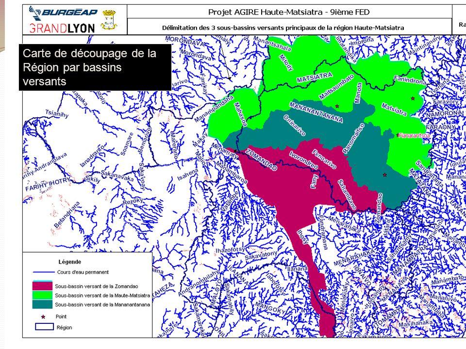 Volet 1 – Appui à la Gestion Intégrée des Ressources en Eau Carte de découpage de la Région par bassins versants