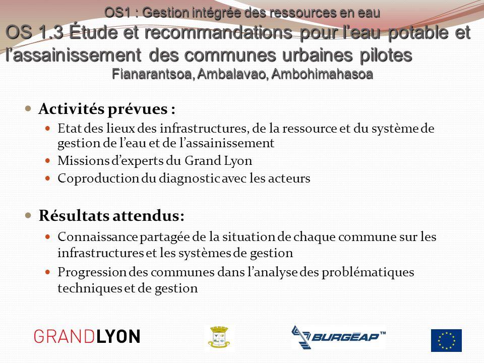 OS1 : Gestion intégrée des ressources en eau OS 1.3 Étude et recommandations pour leau potable et lassainissement des communes urbaines pilotes Fianar