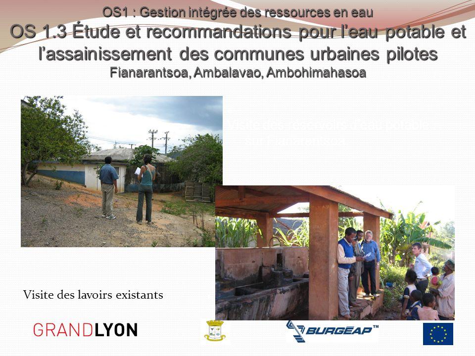 Visite des lavoirs existants Visite des réservoirs deau potable sur Fianarantsoa OS1 : Gestion intégrée des ressources en eau OS 1.3 Étude et recomman