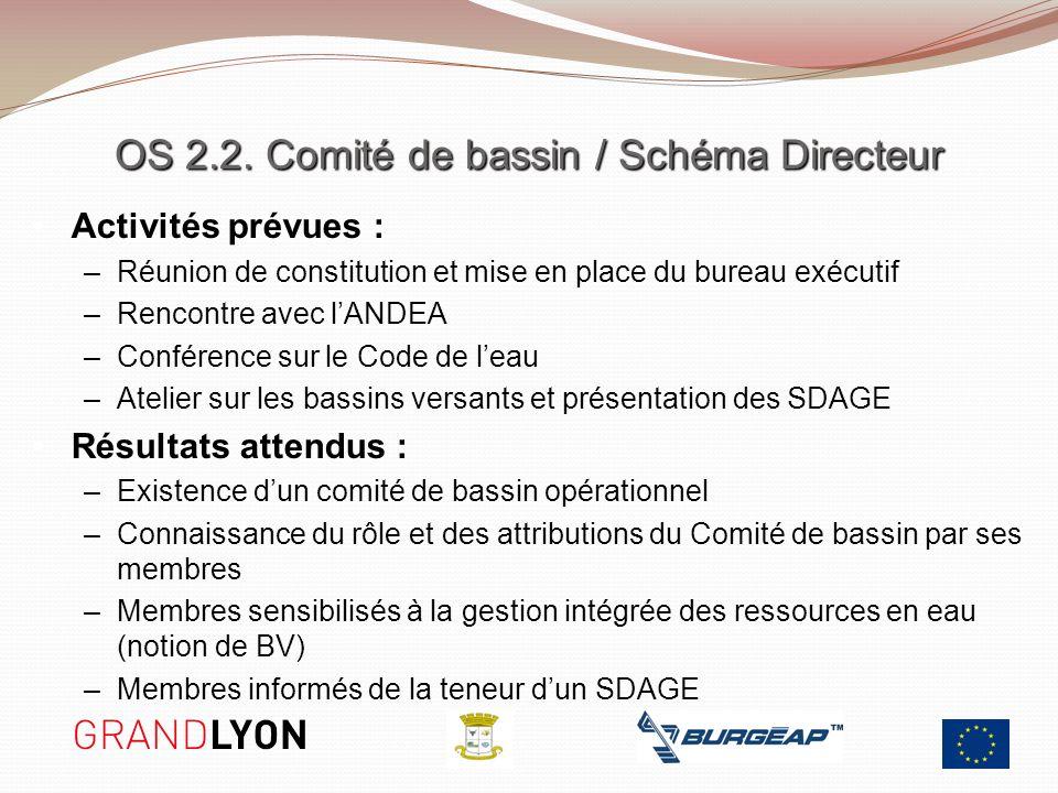 OS 2.2. Comité de bassin / Schéma Directeur Activités prévues : –Réunion de constitution et mise en place du bureau exécutif –Rencontre avec lANDEA –C