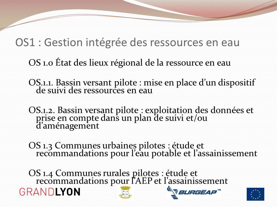 OS1 : Gestion intégrée des ressources en eau OS 1.0 État des lieux régional de la ressource en eau OS.1.1. Bassin versant pilote : mise en place dun d