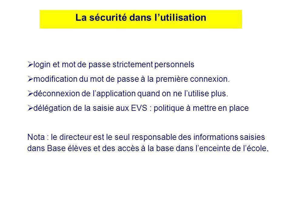 La sécurité dans lutilisation login et mot de passe strictement personnels modification du mot de passe à la première connexion. déconnexion de lappli
