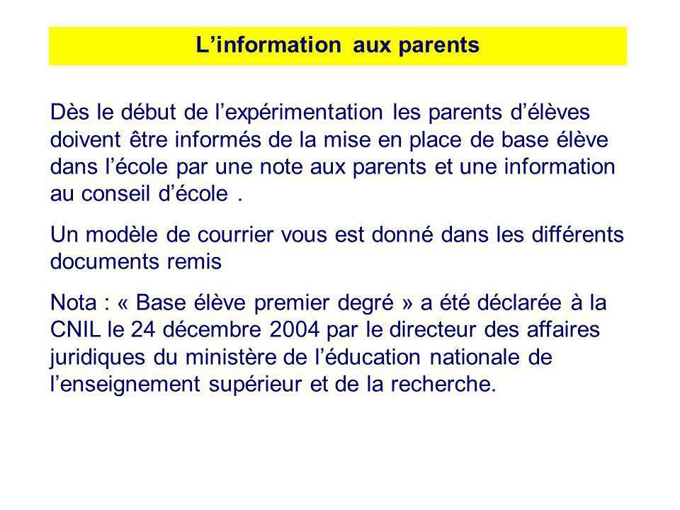 Linformation aux parents Dès le début de lexpérimentation les parents délèves doivent être informés de la mise en place de base élève dans lécole par