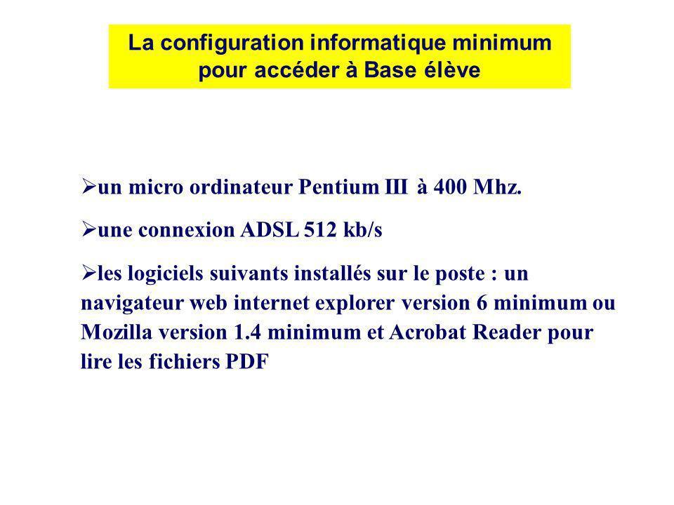 La configuration informatique minimum pour accéder à Base élève un micro ordinateur Pentium III à 400 Mhz. une connexion ADSL 512 kb/s les logiciels s