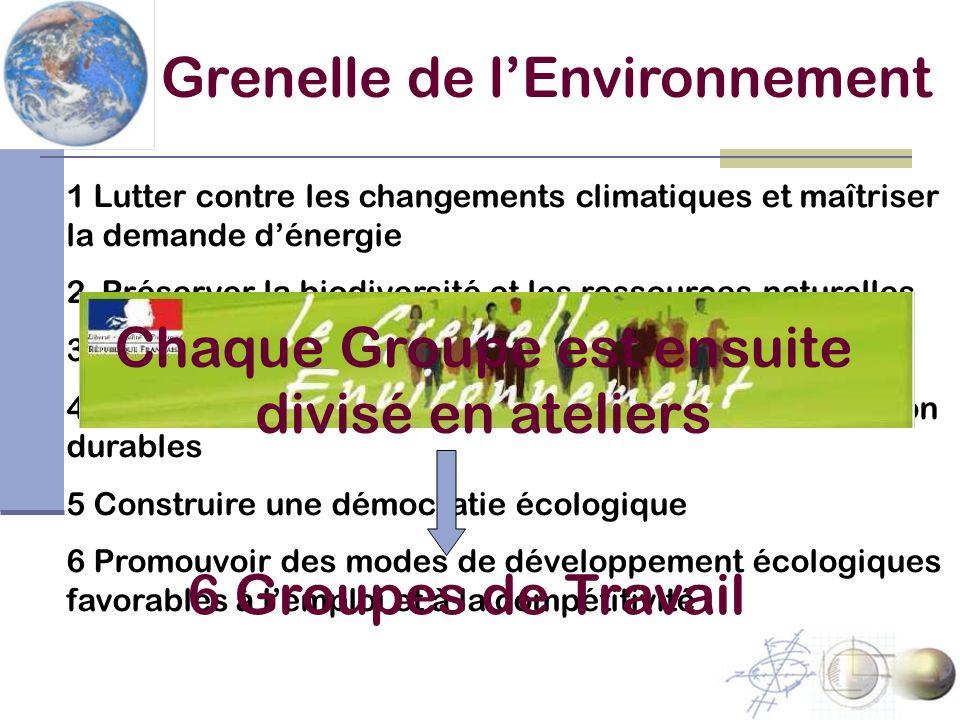 Grenelle de lEnvironnement 1 Lutter contre les changements climatiques et maîtriser la demande dénergie 2 Préserver la biodiversité et les ressources