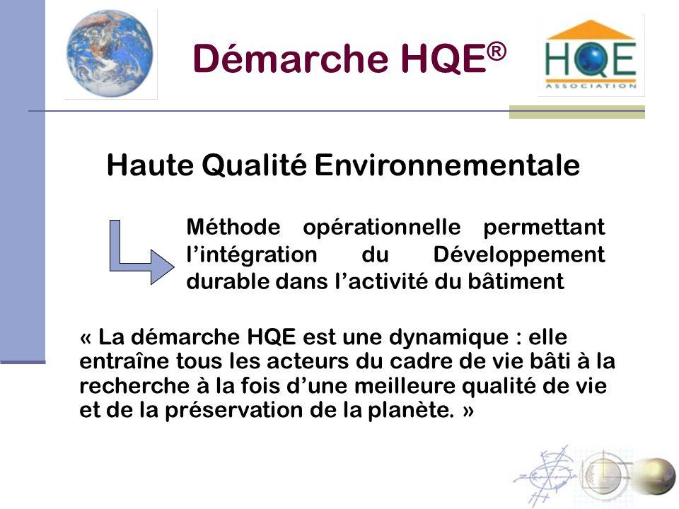 Démarche HQE ® Haute Qualité Environnementale Méthode opérationnelle permettant lintégration du Développement durable dans lactivité du bâtiment « La