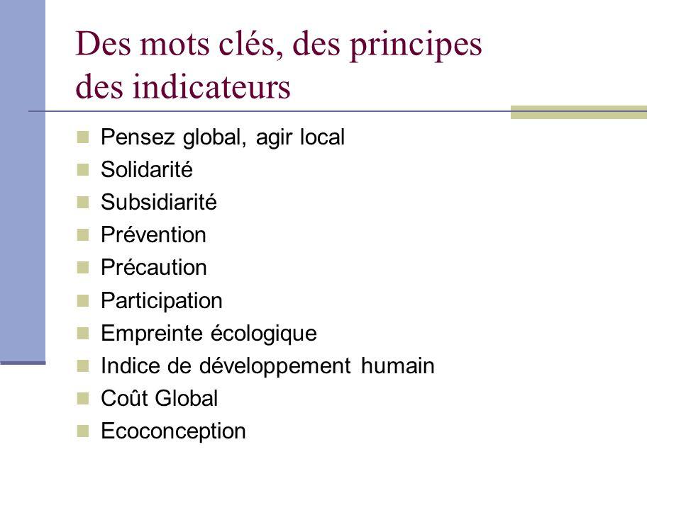 Des mots clés, des principes des indicateurs Pensez global, agir local Solidarité Subsidiarité Prévention Précaution Participation Empreinte écologiqu