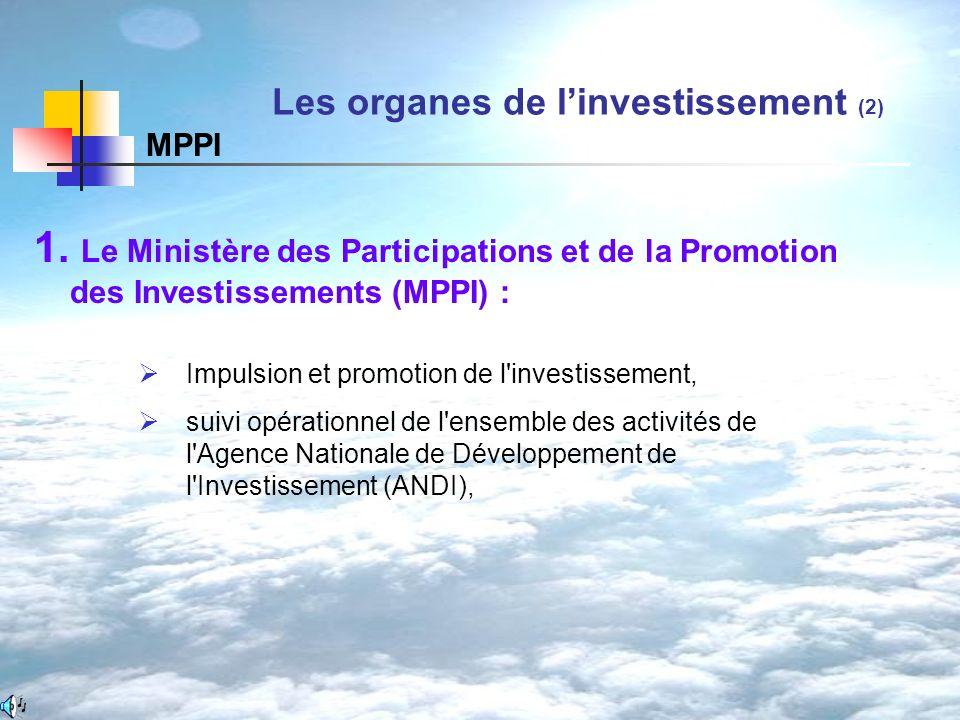 1. Le Ministère des Participations et de la Promotion des Investissements (MPPI) : Les organes de linvestissement (2) MPPI Impulsion et promotion de l