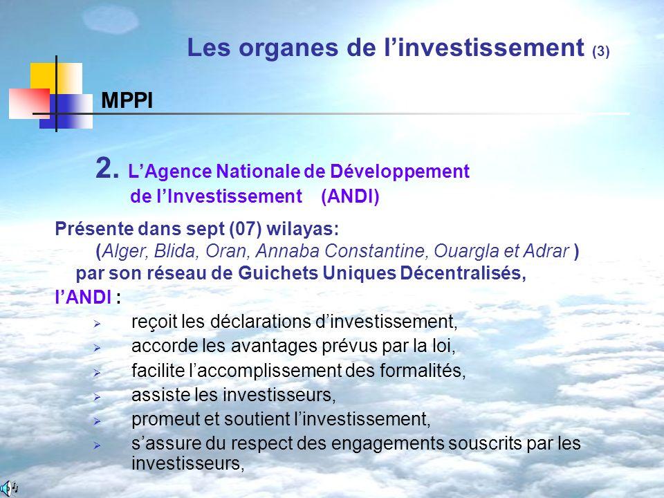 2. LAgence Nationale de Développement de lInvestissement (ANDI) Présente dans sept (07) wilayas: (Alger, Blida, Oran, Annaba Constantine, Ouargla et A