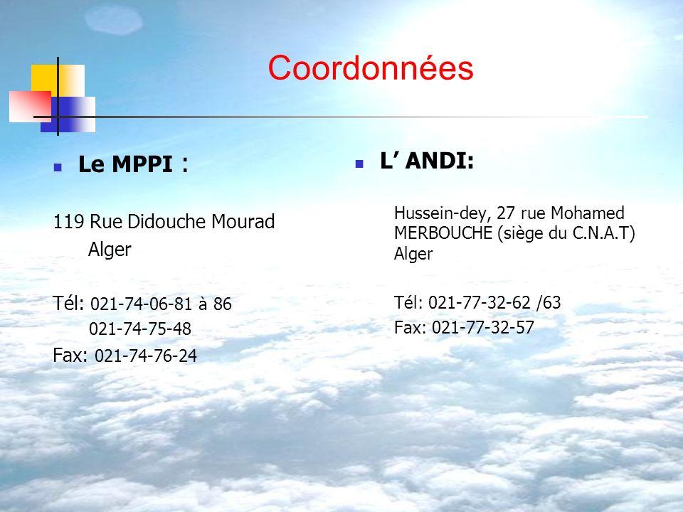 Coordonnées Le MPPI : 119 Rue Didouche Mourad Alger Tél: 021-74-06-81 à 86 021-74-75-48 Fax: 021-74-76-24 L ANDI: Hussein-dey, 27 rue Mohamed MERBOUCH