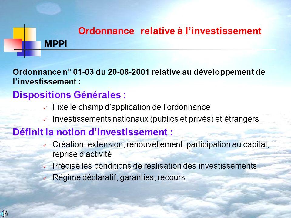 Ordonnance relative à linvestissement Ordonnance n° 01-03 du 20-08-2001 relative au développement de linvestissement : Dispositions Générales : Fixe l