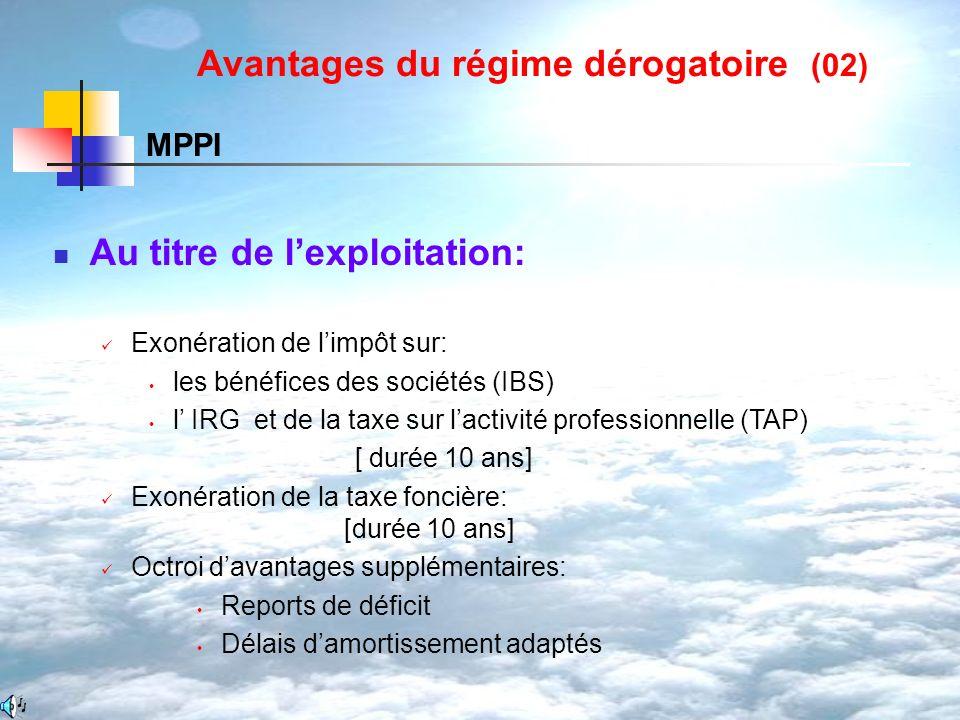 Au titre de lexploitation: Exonération de limpôt sur: les bénéfices des sociétés (IBS) l IRG et de la taxe sur lactivité professionnelle (TAP) [ durée