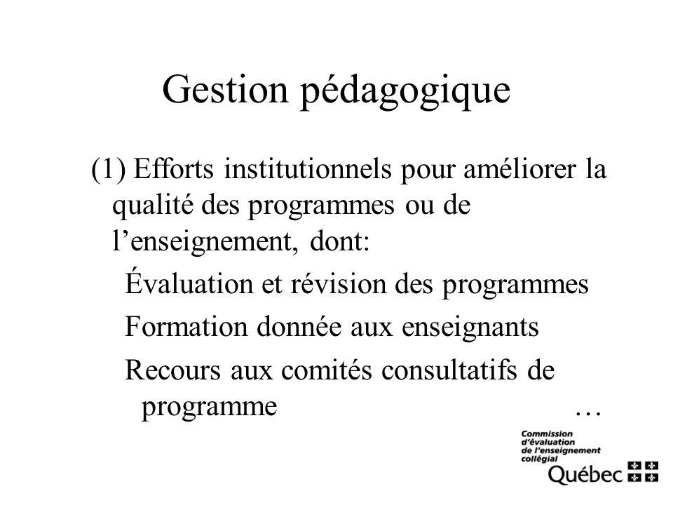 Gestion pédagogique (1) Efforts institutionnels pour améliorer la qualité des programmes ou de lenseignement, dont: Évaluation et révision des program