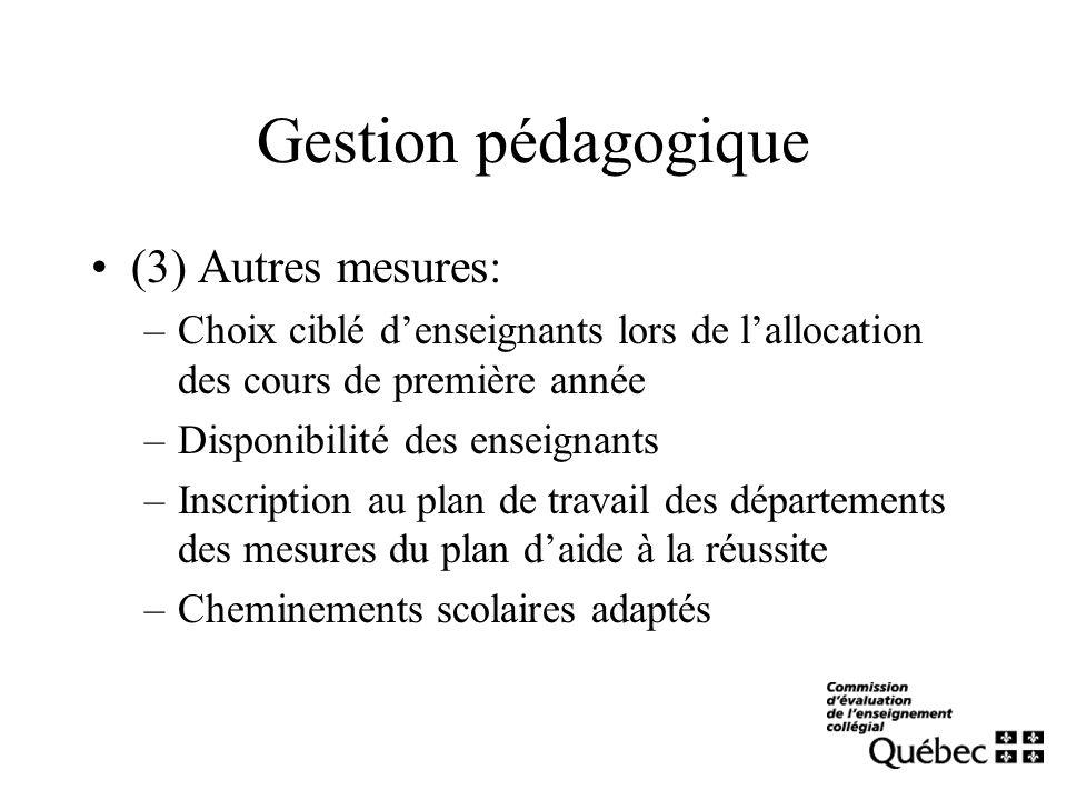 Gestion pédagogique (3) Autres mesures: –Choix ciblé denseignants lors de lallocation des cours de première année –Disponibilité des enseignants –Insc