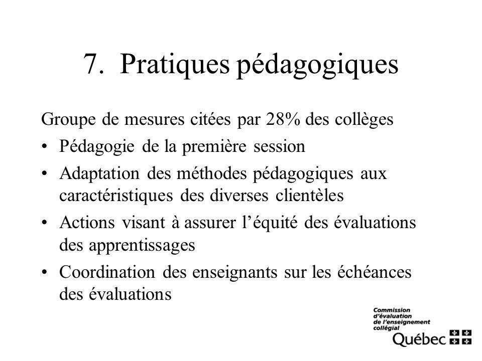 7. Pratiques pédagogiques Groupe de mesures citées par 28% des collèges Pédagogie de la première session Adaptation des méthodes pédagogiques aux cara