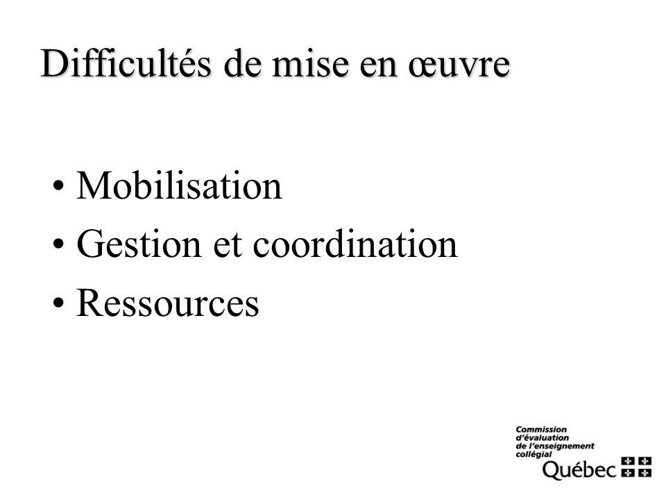 Mobilisation Gestion et coordination Ressources Difficultés de mise en œuvre