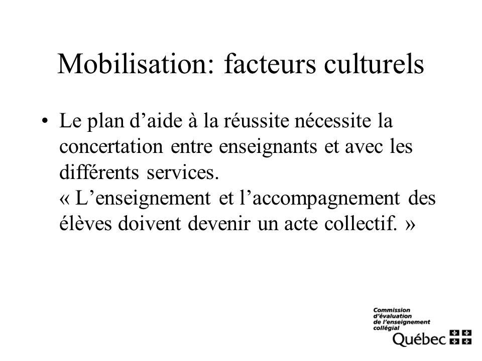 Mobilisation: facteurs culturels Le plan daide à la réussite nécessite la concertation entre enseignants et avec les différents services. « Lenseignem