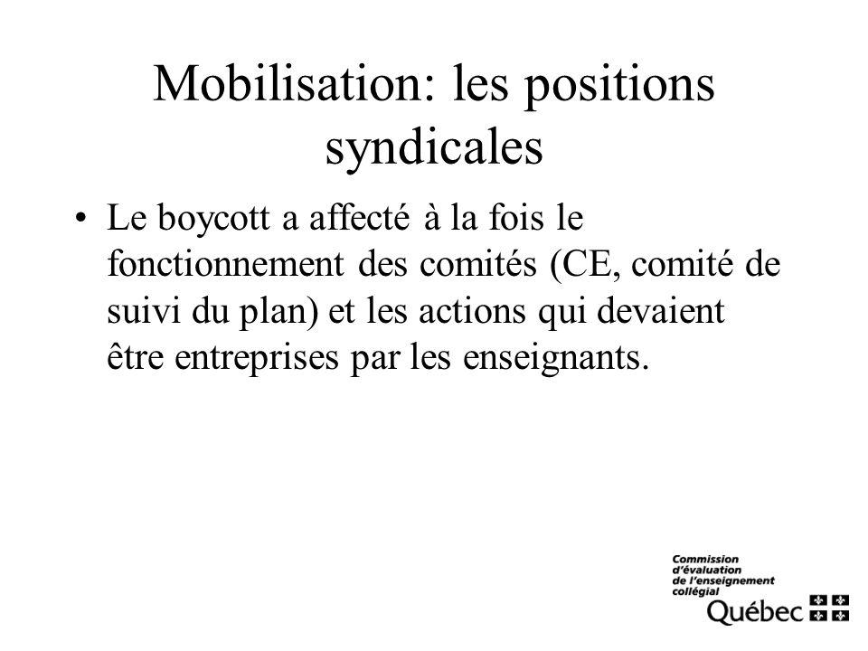 Mobilisation: les positions syndicales Le boycott a affecté à la fois le fonctionnement des comités (CE, comité de suivi du plan) et les actions qui devaient être entreprises par les enseignants.