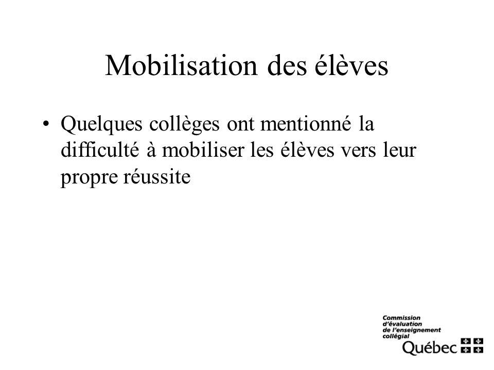 Mobilisation des élèves Quelques collèges ont mentionné la difficulté à mobiliser les élèves vers leur propre réussite