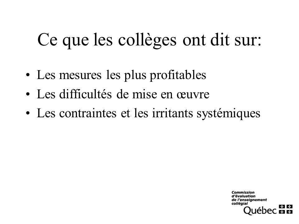 Ce que les collèges ont dit sur: Les mesures les plus profitables Les difficultés de mise en œuvre Les contraintes et les irritants systémiques