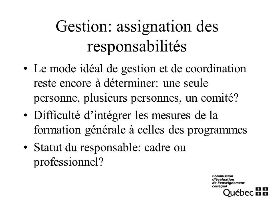 Gestion: assignation des responsabilités Le mode idéal de gestion et de coordination reste encore à déterminer: une seule personne, plusieurs personne