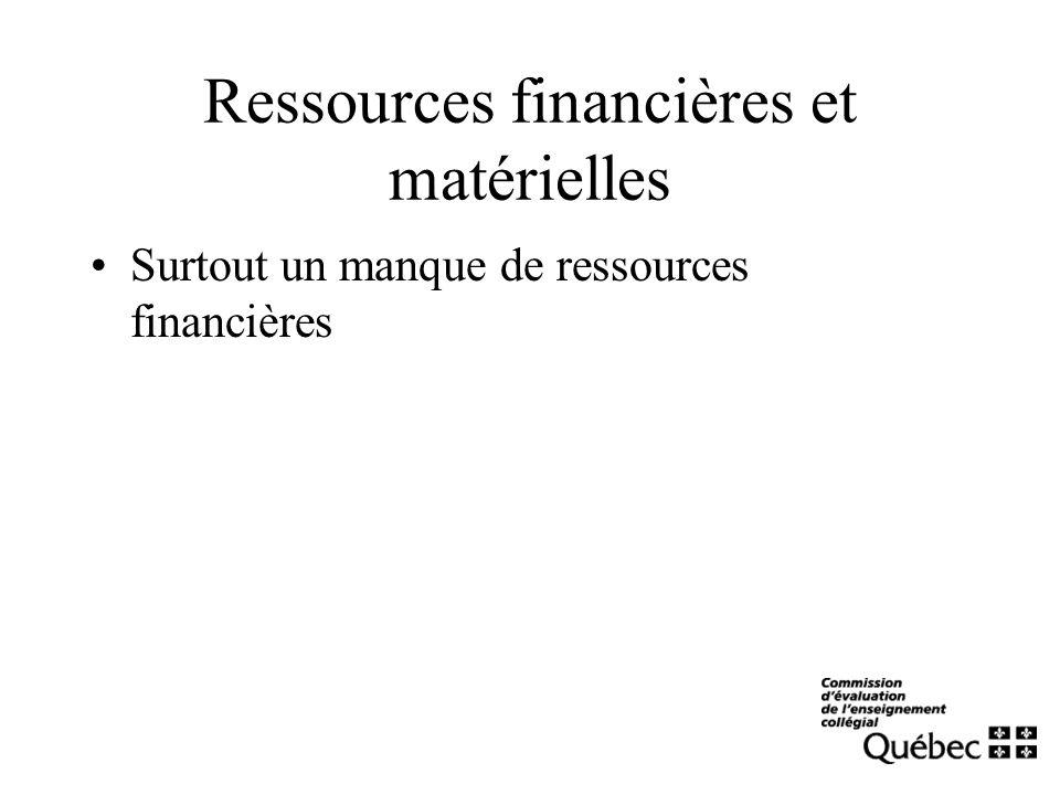 Ressources financières et matérielles Surtout un manque de ressources financières
