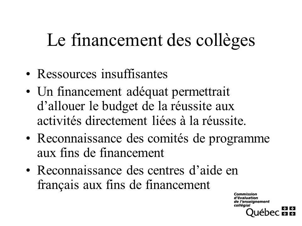 Le financement des collèges Ressources insuffisantes Un financement adéquat permettrait dallouer le budget de la réussite aux activités directement liées à la réussite.