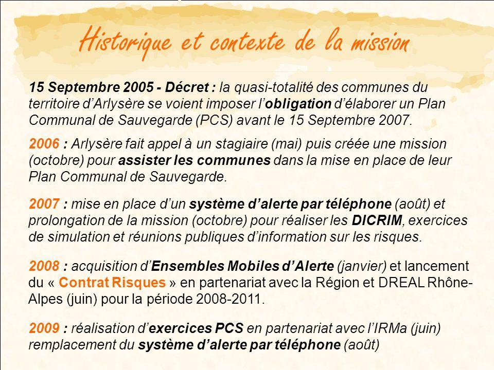 Historique et contexte de la mission 15 Septembre 2005 - Décret : la quasi-totalité des communes du territoire dArlysère se voient imposer lobligation délaborer un Plan Communal de Sauvegarde (PCS) avant le 15 Septembre 2007.