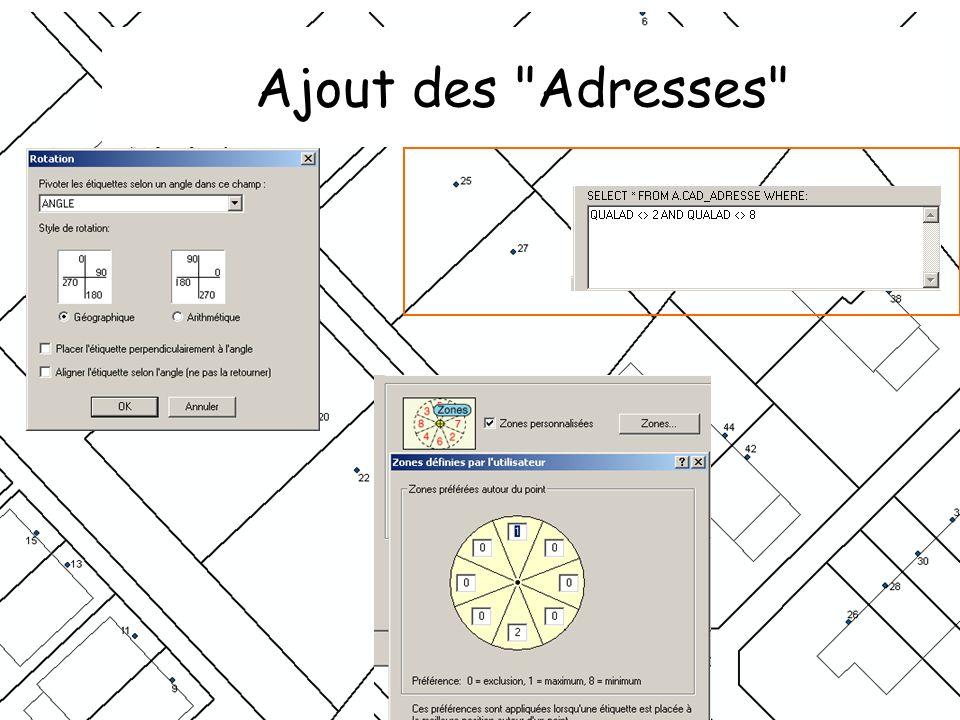 Ajout des Adresses