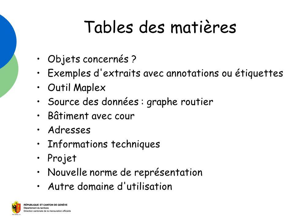 Tables des matières Objets concernés ? Exemples d'extraits avec annotations ou étiquettes Outil Maplex Source des données : graphe routier Bâtiment av