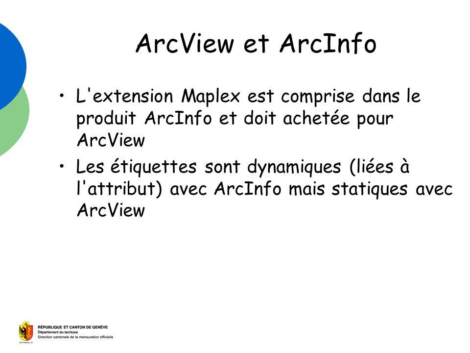 ArcView et ArcInfo L extension Maplex est comprise dans le produit ArcInfo et doit achetée pour ArcView Les étiquettes sont dynamiques (liées à l attribut) avec ArcInfo mais statiques avec ArcView