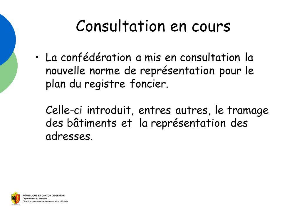 Consultation en cours La confédération a mis en consultation la nouvelle norme de représentation pour le plan du registre foncier. Celle-ci introduit,