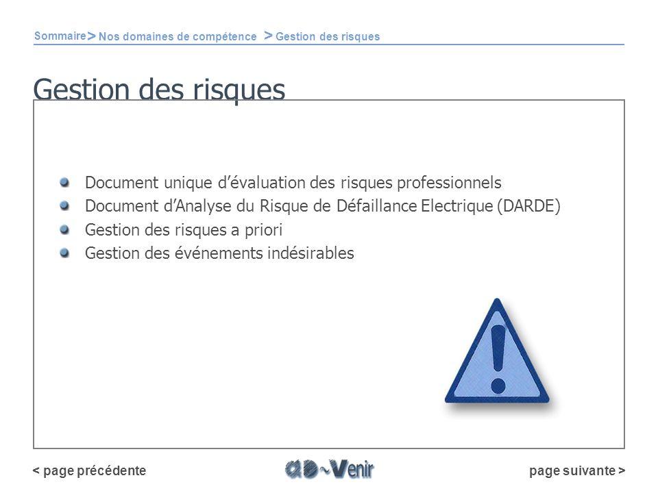 Gestion des risques Sommaire > Nos domaines de compétence > Gestion des risques Document unique dévaluation des risques professionnels Document dAnaly