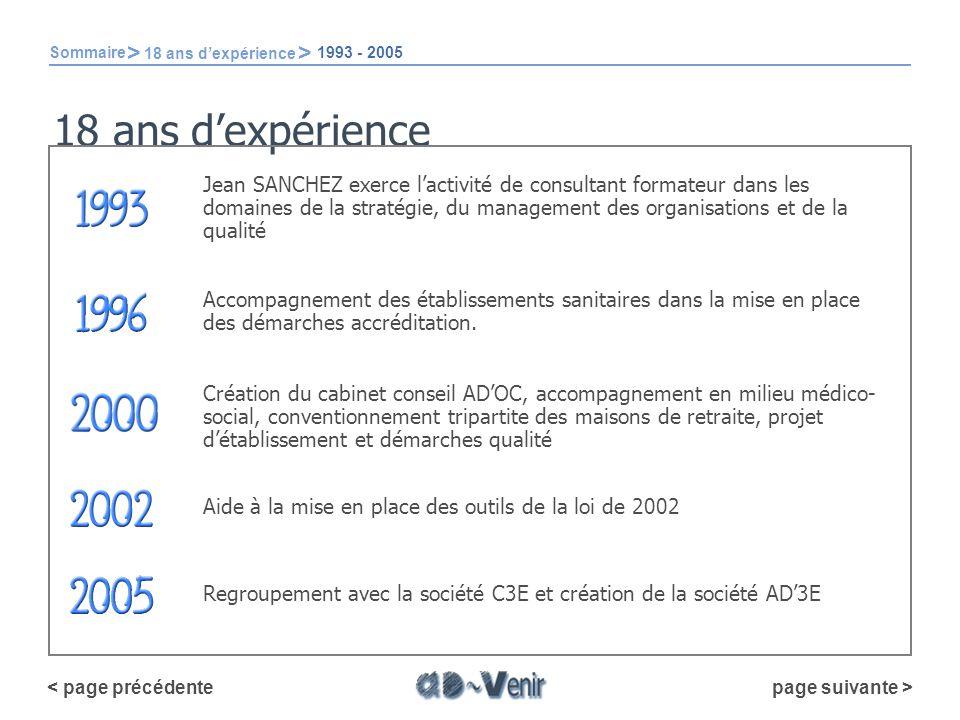 Aide à la mise en place des outils de la loi de 2002 18 ans dexpérience page suivante > < page précédente Jean SANCHEZ exerce lactivité de consultant