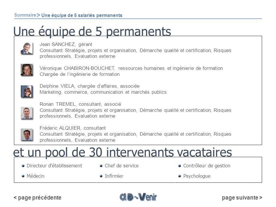 et un pool de 30 intervenants vacataires Sommaire > Une équipe de 5 salariés permanents Directeur détablissementChef de serviceContrôleur de gestion M