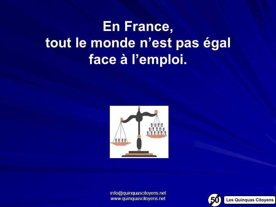 info@quinquascitoyens.net www.quinquascitoyens.net En France, tout le monde nest pas égal face à lemploi.